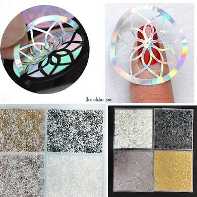 New Fashion 8 Sheets/Set Hollow Out Embossed Flower 3D Nail Art Stickers BRCE 01