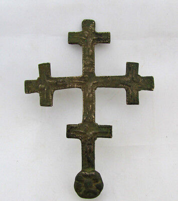 Ancient Antique Byzantine  Large Bronze Cross with two sides 3,62''