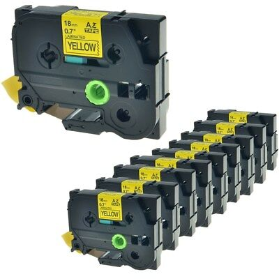 10PK Black on Yellow Label Tape TZ641 TZe641 For Brother P-touch PT-1810 18mm