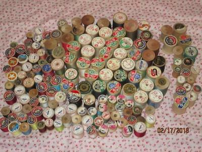 Large Lot Vintage Wooden Spools/most with Thread/Some new unused/Some empty
