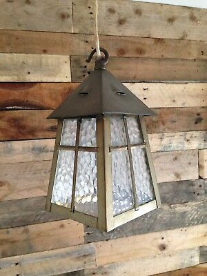Antique Art Nouveau / Arts & Crafts Brass & Glass Lantern Lamp Porch Hall Light