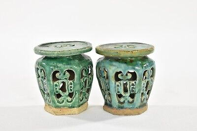 Pair Asian Chinese Green Ceramic / Pottery Garden Seat / Stand / Stool