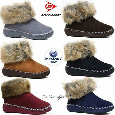 Ladies Slippers Women Dunlop Memory Foam Fur Thermal Ankle Boots Warm Shoes Size