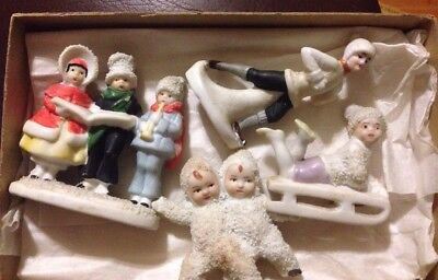 Antique Vintage Lot Of 4 Bisque German Snow Baby Figurines~Carolers Sled Skater