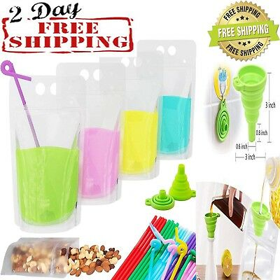 50 PCS Drink Pouches Bags with Straws Clear Translucent Stand-Up Zipper Plastic