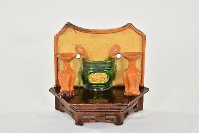 Antique Chinese Multicolored Ceramic / Pottery Incense Holder / Wall Vase