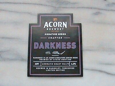 Acorn Darkness real ale beer pump clip sign