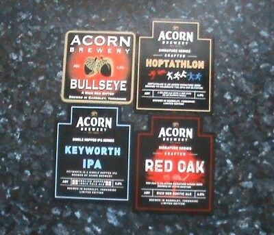 Acorn real ale beer pump clip signs 4x Various