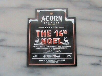 Acorn The 14th Noel real ale beer pump clip sign Christmas theme