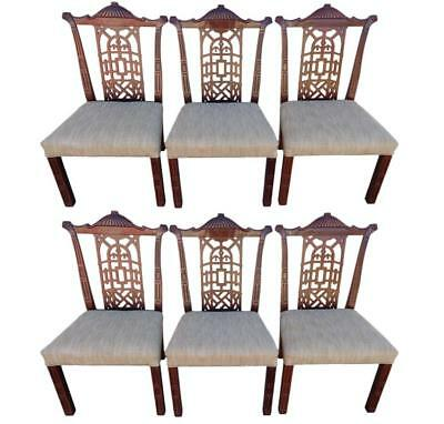 Vintage Set of 6 Regency Pagoda Dining Chairs Chinese Chippendale Chinoiserie