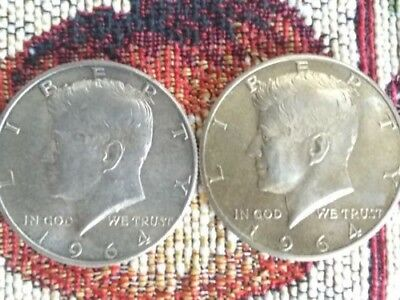 1964 P&D 90% Silver Kennedy Half Dollar 2 Coin Set