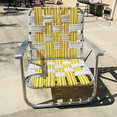 Vintage Aluminum Folding Webbed Lawn Chair Yellow White Webbing Metal Arms