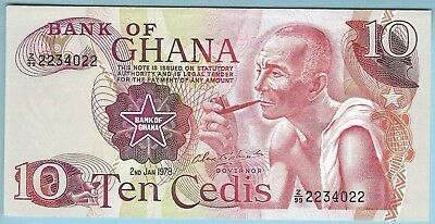Bank of Ghana - 10 Cedis - 02.01.1978 - WPM# 16f* - Z/99 Replacement Note