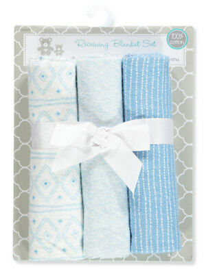 Cribmates Baby Boys' 3-Pack Receiving Blankets