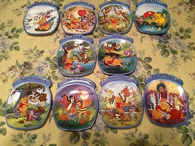 Winnie The Pooh Calendar Plate-The Whole Year Through-BRADFORD EXCHANGE 10 Month