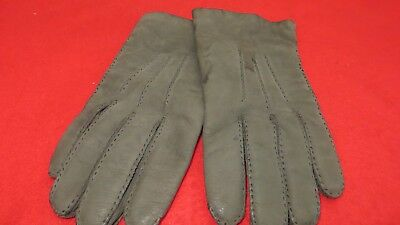 Superb Pair Of Quality Leather and Cashmere Lined Grey Gloves - Size 7 1/2