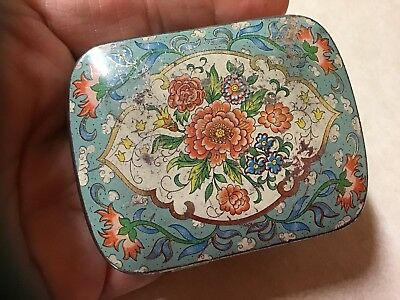 """Shabby Chic Vintage tin Pill Box green With Flowers hinged lid 2 1/4"""" By 1 3/4"""""""