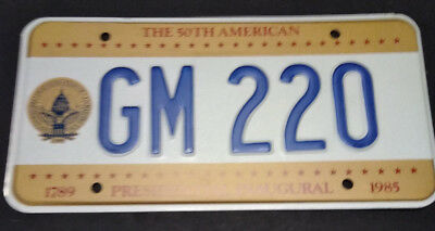 1985 District Of Columbia Gm-220 Inaugural Inauguration License Plate