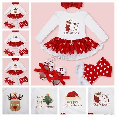 6ae771e07 My First Christmas Infant Baby Girl Santa Romper Sequined Tutu Dress Outfit  Set