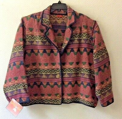 Native American *nakoda Made* Cotton Tapestry Ladies Jacket Size Xl  Sale!