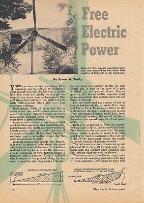 1951 Build Your Own Wind Turbine 3 Page Magazine Article