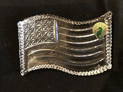Waterford Crystal American Flag Paperweight Ireland New