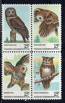 Owls ** Us Postage Stamps ** Set Of 4 Mint