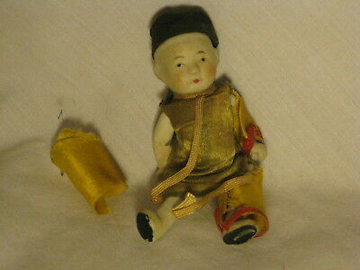 """antique miniature Japanese ceramic doll figure Asian  3.75"""" old moving arms legs"""