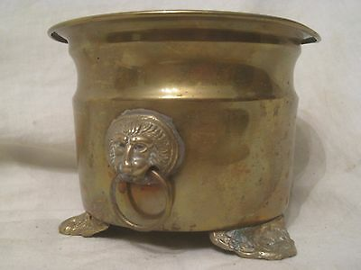 ornate footed metal planter lion head detail ring container brass Quality Sun