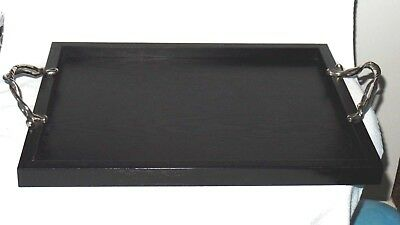 Michael Aram Black Wood Tray w/ Stwisted Stem Metal Handles