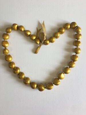 "Hawaiian Gold 32"" Kukui Nuts Lei Bead Necklace"