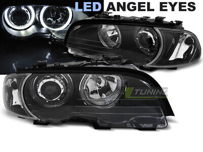 Coppia di Fari Anteriori per BMW E46 Serie 3 Coupè CABRIO Angel Eyes LED Neri IT
