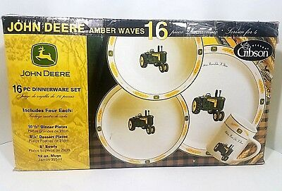 John Deere AMBER WAVES 16 Piece Dinnerware  By Gibson
