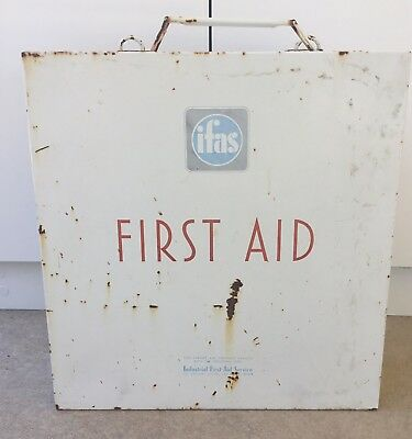 Vintage First Aid  Cabinet Kit Large Metal Industrial IFAS 1959 With Contents