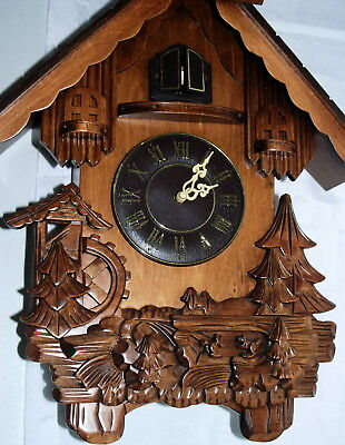 Carved Wood Cuckoo Clock Battery Operated Chalet Tree Animals Roman Parts Repair