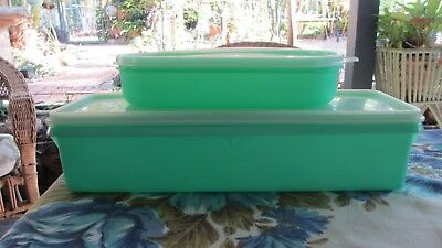 Vintage Tupperware Green Easy Crisp Fridge  Keeper & smaller keeper asparagus