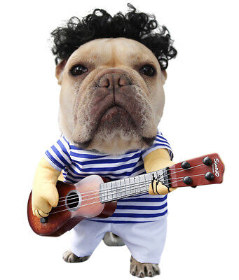 Cute Pet Dog Halloween Costumes Guitar Player Coat Clothes Party Cosplay Apparel