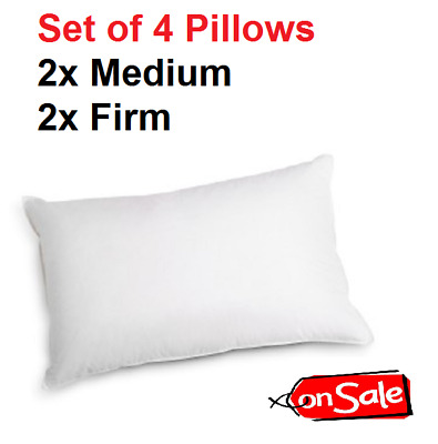 4 Pack Of Bed Pillows Soft Medium Cotton Cover Fits Standard Pillow Covers NEW