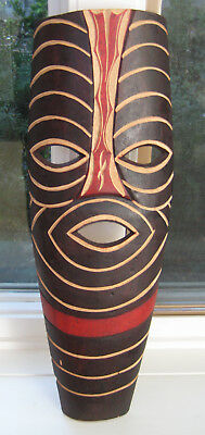 """Vintage colorful Africa Swahili 19"""" tall carved wood war mask - LOOK!"""