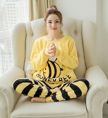 Women Pajamas Set Winter Warm Homewear Sleepwear Long Sleeve Top Pants Pyjamas