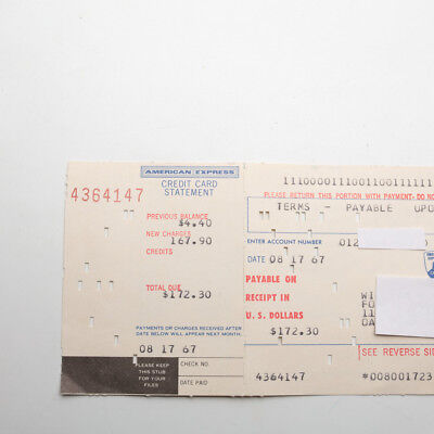 Vintage American Express Credit Card Statement 1967 Computer Punch Card
