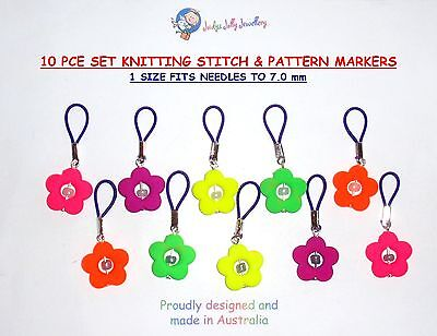 10 KNITTING STITCH & PATTERN MARKERS FLEXIBLE WILL FIT NEEDLES UP TO 7mm