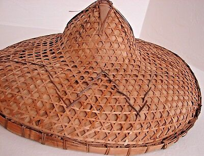 Vintage Chinese Asian Bamboo Straw Coolie Hat Wall Decor