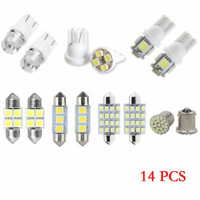 14Pcs Super White LED Interior Package Kit T10 36mm Map Dome License Plate Bulb