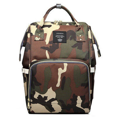 LEQUEEN Multifunctional Diaper Bag Nappy Backpack Maternity Large Capacity Camo