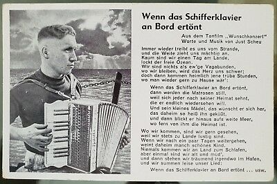 Germany WWII Era Black White Photograph Verse Sailor Accordion Postcard Cover