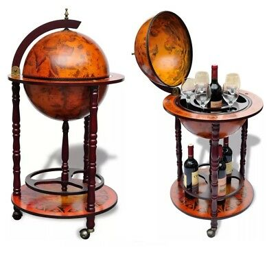 Wooden Old World Style Wine Bottle Holder Rack Storage Cabinet Bar Shelf Trolley