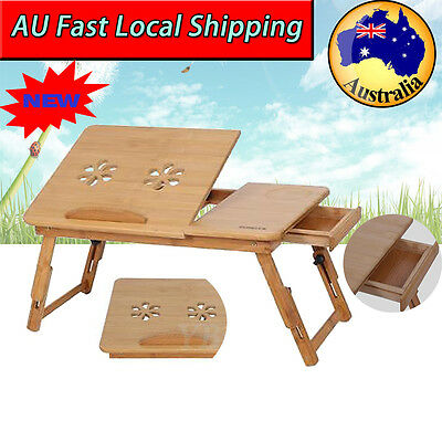Folding Bamboo w/ Cooling Hole Laptop Desk Notebook Tray Stand Table Sofa Bed AU