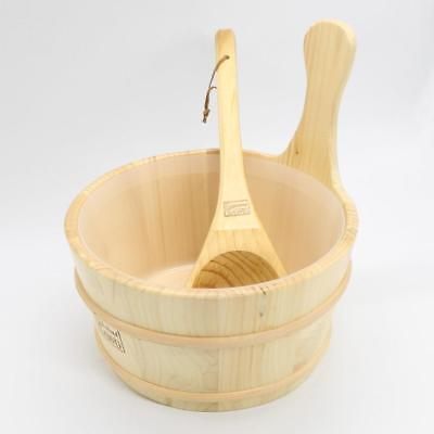 4l Sauna Accessory Wooden Bucket Pail Ladle With Linner Combined Set Sauna Room