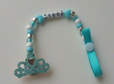 Baby Boy Blue Glitter Crown Bling Personalised Dummy Saver Holder Clip